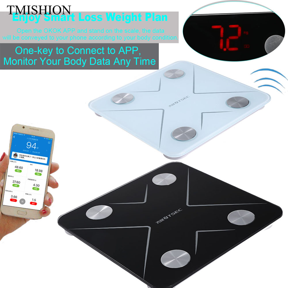 smart bluetooth led body fat weight scale bmi body composition