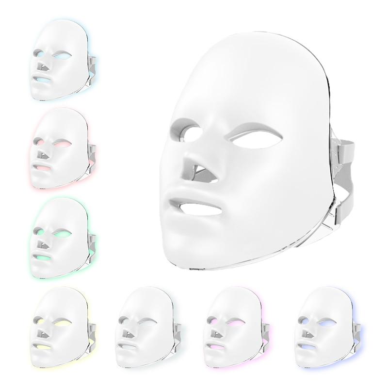 Peau légère 7 couleur masque LED pour visage cou Spa Anti-rides acné enlèvement cou peau rajeunissement Photon thérapie Machine beauté