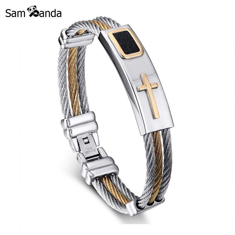 2018 New Gold Jesus Cross Bracelet Men Jewelry Stainless Steel Mens Rock Bracelets & Bangles Leather Pulseira Masculina Gift ingco