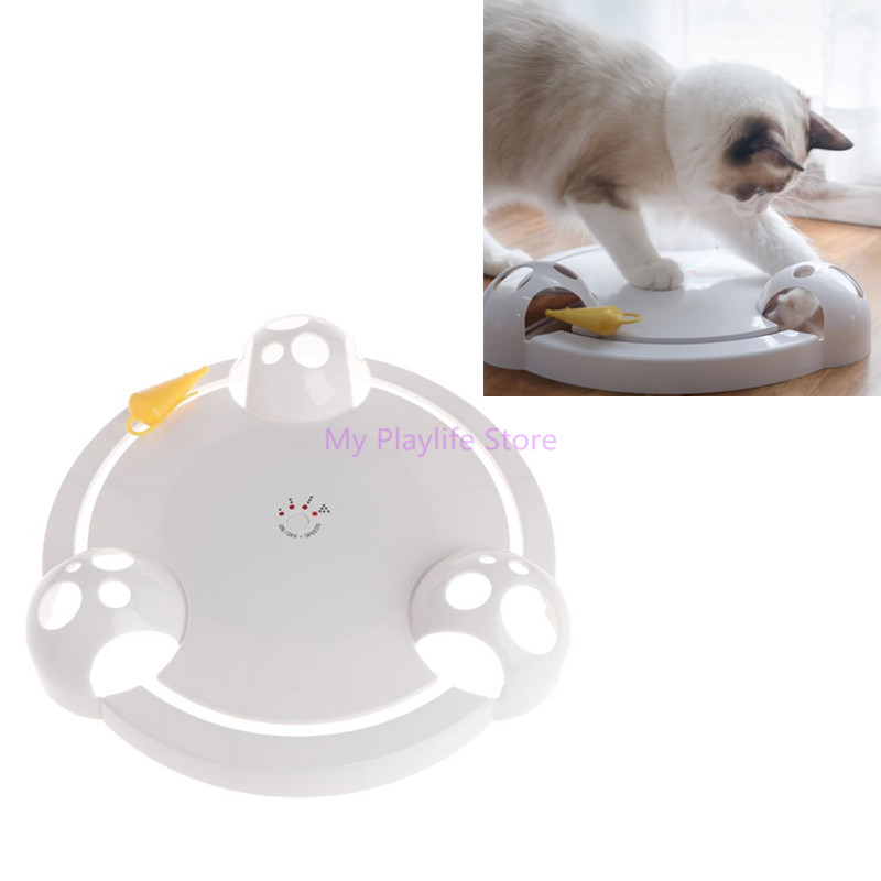 Funny Cat Interactive Toy Teaser Electric Plate Pet Dog Kitten Puppy Artificial Mouse Automatic Rotation Play Exercise Toys C42