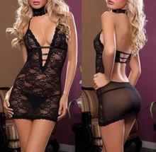 Sexy Lingerie Women's Sleepwear Underwear Babydoll Black Dress Costume +G-String