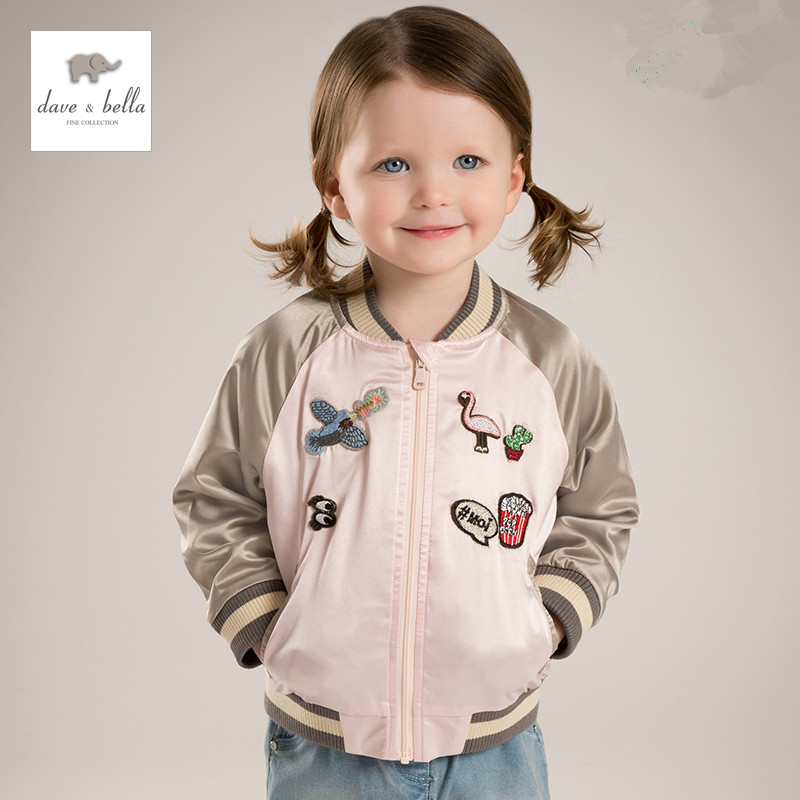 DB5186 davebella spring baby girl latest fashion baseball jacket pink embroidery coat