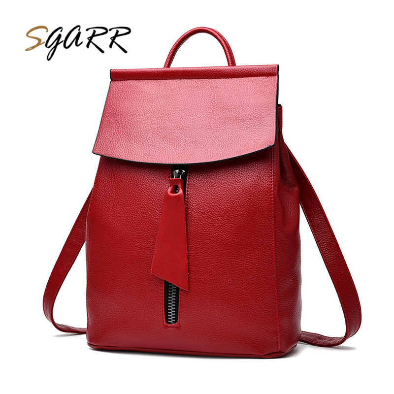 SGARR Women Leather Backpack Black Blue Wine Red 3 Color Solid Softback Female Teenager Girls School Bags Casual Trave Bag Purse