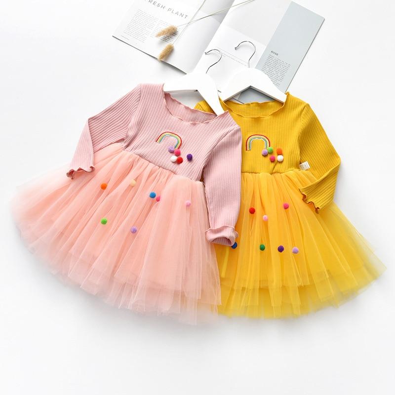 Children Cloth Kids girls fashion long sleeve Fall Autumn dress cute baby girls pompom tull dress rainbow princess dress DR19112 in Dresses from Mother Kids