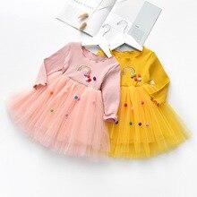 Children Cloth Kids girls fashion long sleeve Fall Autumn dress cute baby pompom tull rainbow princess DR19112