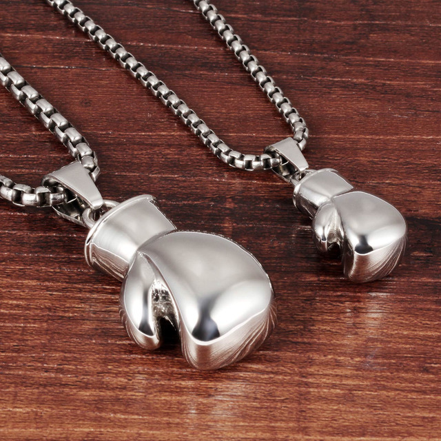 Black/Steel / Gold Color Fashion Mini Boxing Glove Necklace Boxing Jewelry Stainless Steel Cool Pendant For Men Boys Gift