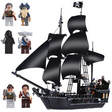 Купить с кэшбэком Model building kits compatible with lego Pirates Caribbean Ship 4184  The Black Pearl Building Blocks Set Bricks figure toys