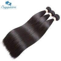 Sapphire Remy Human Hair Bundles Peruvian Straight Remy Hair Extensions 3PCS Lot Natural Color Salon Human