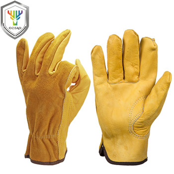OZERO Work Gloves Cowhide Driver Security Protection Wear Safety Workers Welding Gloves For Men 0007 kopilova 1pairs welding gloves cow suede lengthen fire proof sputtering protection gloves wear resisting for finger protection
