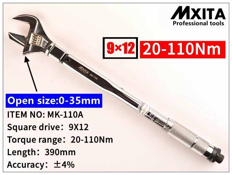 MXITA  OPEN wrench Adjustable Torque Wrench 9X12 20-110Nm Interchangeable Hand Spanner Insert Ended head Torque Wrench mxita open wrench insert ended head torque wrench 9x12 5 25nm adjustable torque wrench interchangeable hand spanner
