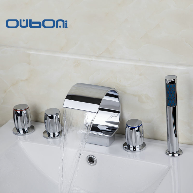OUBONI 5 PCS Set Deck Mounted 3 Handles Taps Waterfall Faucets Mixers & Tap Bathtub Mixer Chrome Bathtub Bathroom Faucet free shipping polished chrome finish new wall mounted waterfall bathroom bathtub handheld shower tap mixer faucet yt 5333