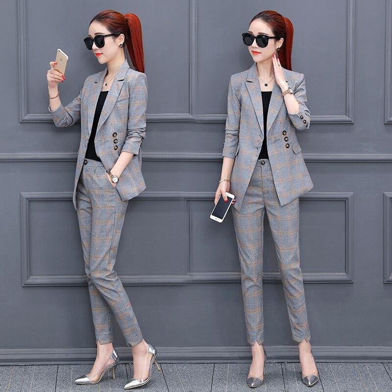 Set female 2018 spring new women's fashion lattice small suit suit female suit nine pants temperament elegant two-piece