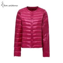 Zoe Saldana 2018 Women Winter Coat Ultra Light Duck Down Jackets Slim Long Sleeve Single Breasted Parka Plus Size Solid Coat