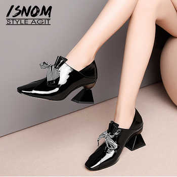 ISNOM Unusual High Heels Women Pumps Square Toe Butterfly Knot Footwear Patent Leather Ladies Shoes Fashion Mules Shoes Woman - DISCOUNT ITEM  45% OFF All Category