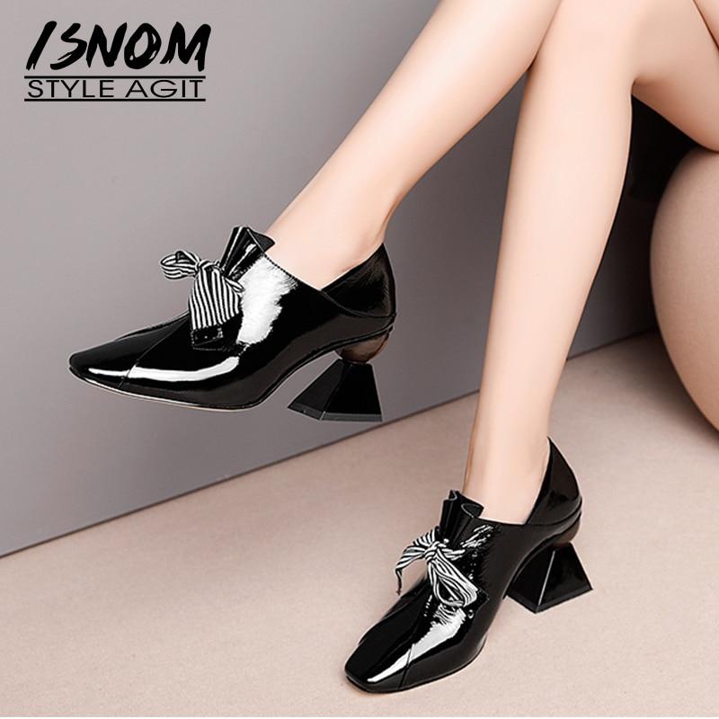ISNOM insolite talons hauts femmes pompes bout carré noeud papillon chaussures en cuir verni dames chaussures mode Mules chaussures femme