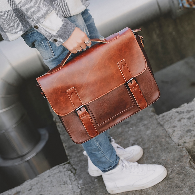 ETONWEAG Crazy Horse PU Leather Men Tote Handbag Fashion Crossbody Shoulder Bags Messenger Bag New Briefcase For Male Handbags