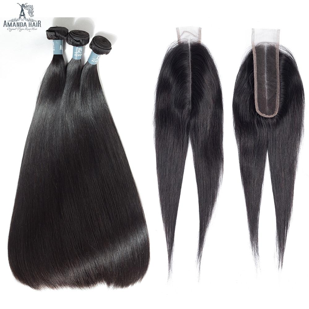 Amanda Peruvian Straight Human Virgin Hair With Kim K 2*6inch Closure Double Drawn Human Hair Bundles With Closure 4/5pcs/lot(China)