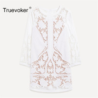 Truevoker Spring Designer Dress Women S High Quality Long Sleeve Cute Princess Embroidery Hollow Out White