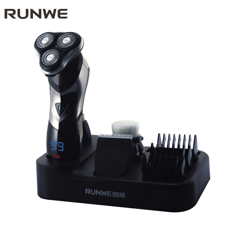 RUNWE 3-in-1 Triple Blade Electric Shaver For Men Hair Clipper Trimmers 110-240V Professional Men's Rechargeable Shaver Razors povos pw830 men s electric shaver triple blade