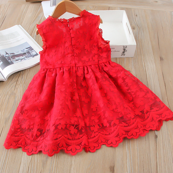 Hurave mesh Casual lace embroidery princess baby Girl clothes Summer sleeveless dress Kids Clothes dresses 1