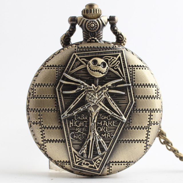 The Nightmare Before Christmas Pocket Watch Jack Skellington Skull Skeleton Quartz Pocket Watch FOB Chain Women Mens Gifts
