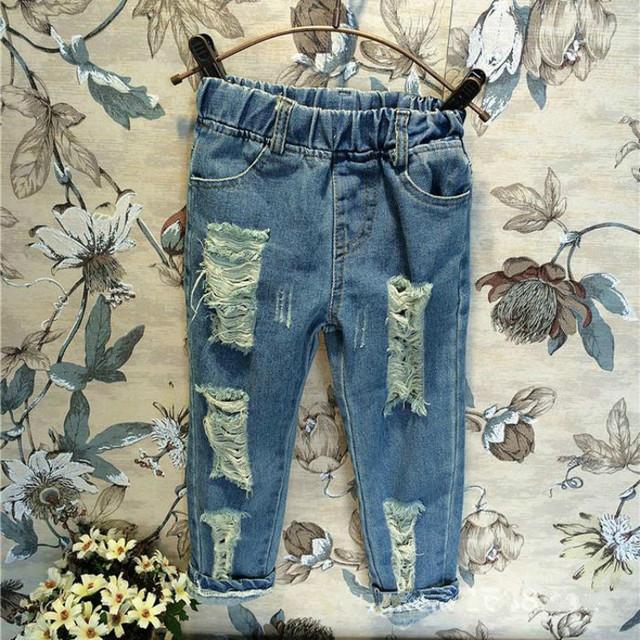 2017 Crianças Meninos Meninas Buraco Quebrado Calças Calças Marca de Jeans Da Moda Outono 2-7Yrs Crianças Calças Do Bebê Roupas Crianças