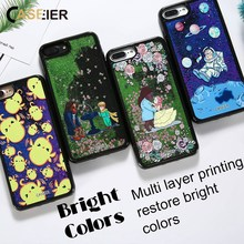 CASEIER Liquid Phone Case For iPhone 6 6s Glitter Quicksand Cover For iPhone 7 8 Plus X Case 3D Relief Fashion Design Capa Coque(China)