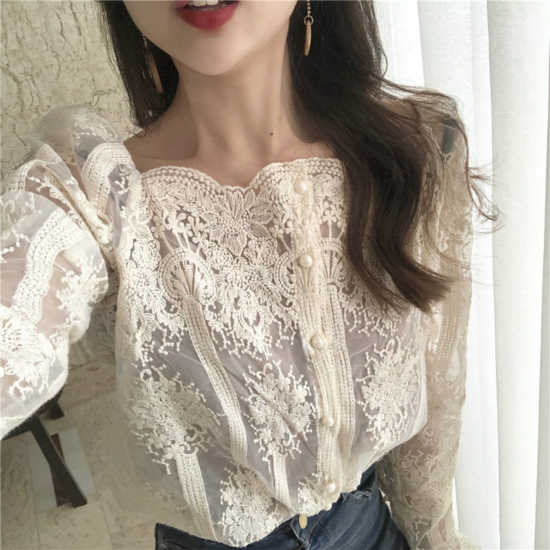 Creative New Women Spring Summer V-neck Embroidery Lace Star Basic Bow Shirt Casual Slim High Waist Cardigan Mesh Gauze Voile Blouse Tops Back To Search Resultswomen's Clothing