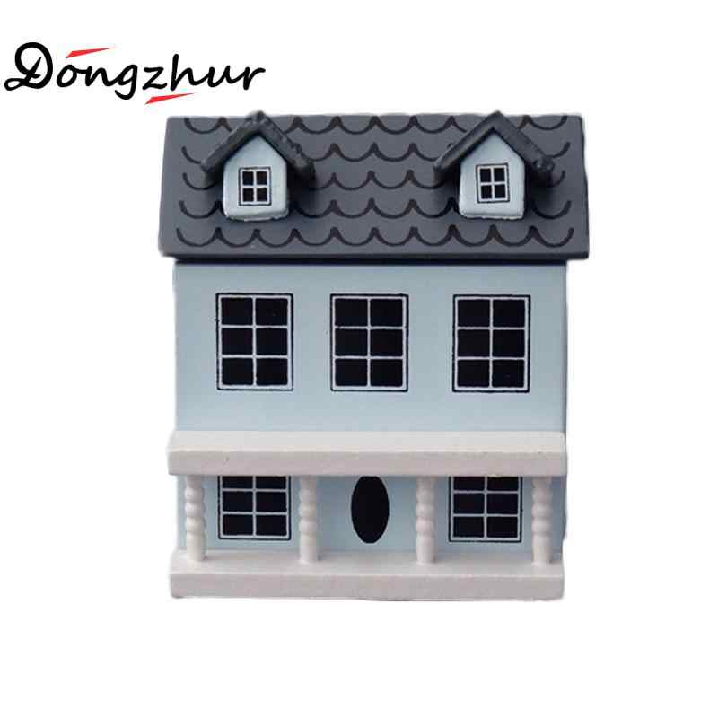 Dongzhur Mini Doll Dollhouse Miniature Lovely Villa Dollhouse Wooden House Toys For Doll Birthday Gift Blue Craft Model Dropship