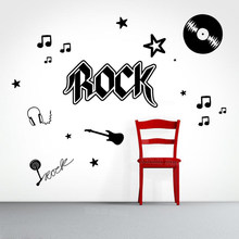Rock And Roll Wall Decal Music Lover's Headphone Guitar Wall Sticker Teen Boys Girls Room DIY Party Decor Mural Note Record Z350(China)