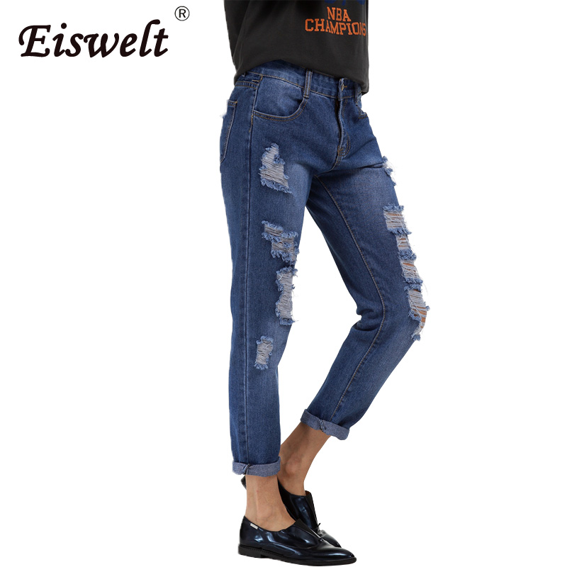 Fashion Boyfriend Jeans Woman 2017 Plus Size Autumn Ripped Jeans for Women Hole Loose Sweat Pants Womens Ladies and Girls