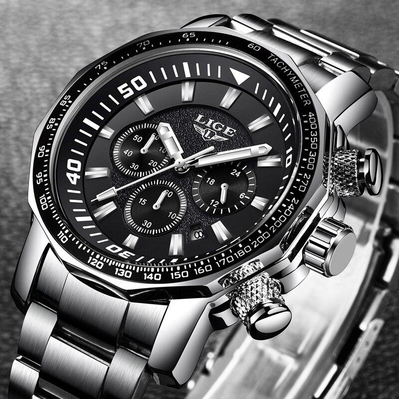 LIGE Top Marca de Luxo Relogio masculino Homens Relógios Em Aço Inoxidável Moda Relógio de Quartzo dos homens Casuais À Prova D' Água Esporte Relógio De Pulso