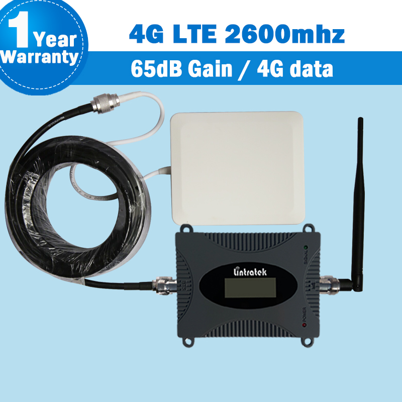 Lintratek 4g 2600mhz Lte Repeater 15m Cable Mini Cell Phone Signal Booster Cellular Display 65dB 4g Signal Booster 2600 B7 S36