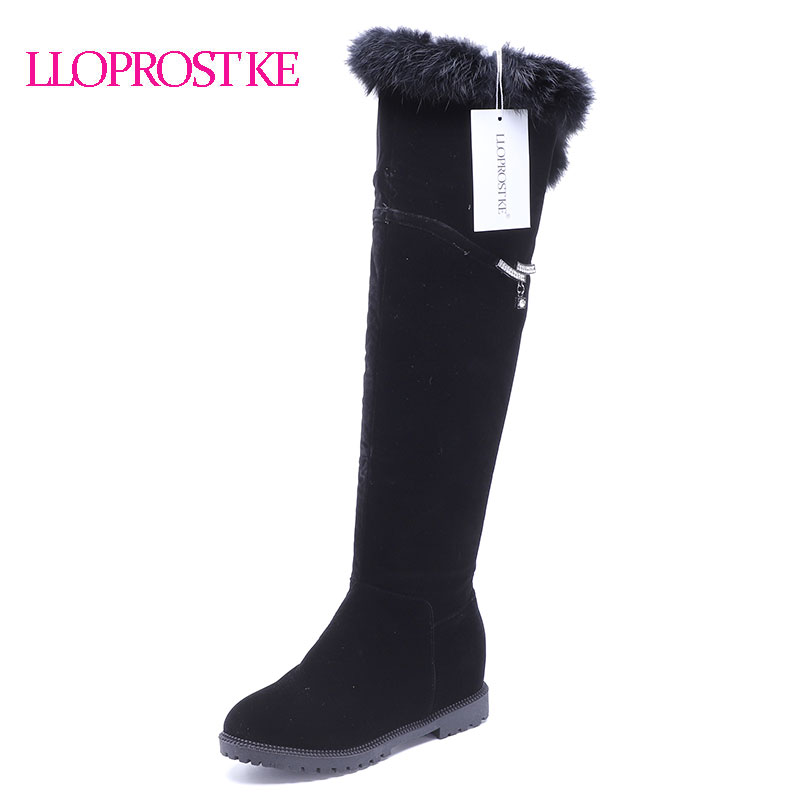 LLOPROST KE Women Over Knee Boots Winter Warm Long Boots Zipper Round Toe Fashion Simple Women Boots Warm Non-Slip Shoes LYZ051 lloprost ke women over knee boots 2017