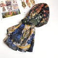 Contrast Floral Bird Spain Scarf Women Bright Elegant Girl Bandana Summer Shawl Hot [0847]