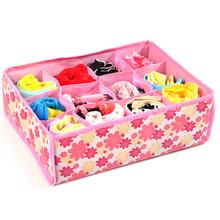 New 12 Grid Bag Non-Woven Fabric Folding Case Storage Box For Bra Socks underwear organizer for cloth print storage