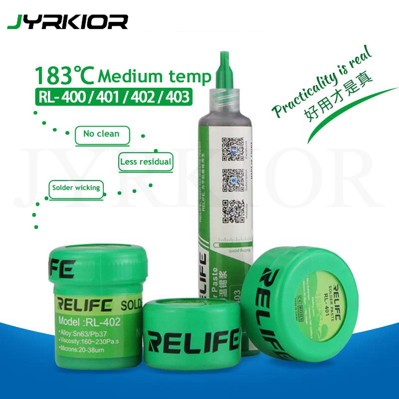 Jyrkior Relife 183 Medium Temperature No-Clean Solder Paste Flux RL-400/401/402/403 SolderTin Sn63/Pb67 For Soldering Iron