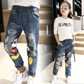 2016 Autumn New Mickey Cartoon Printed Elastic Waist Korean Girls Children Denim Jeans