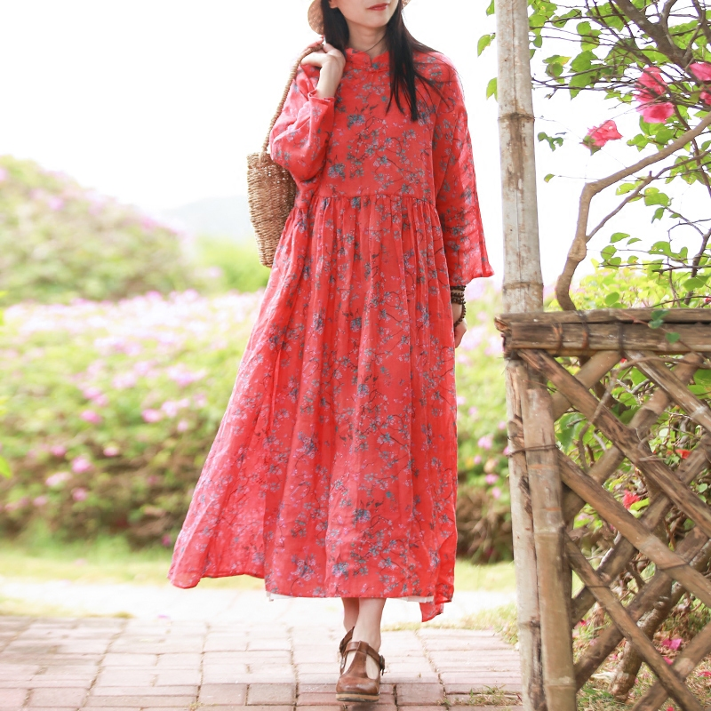Hisenky 2018 Spring Ramie Three Quarter Sleeve Dress Women Maxi Dresses  Small Flower Shirt Dress Robe Femme Elbise Vestido 1907-in Dresses from  Women s ... 63f0ad25bf48