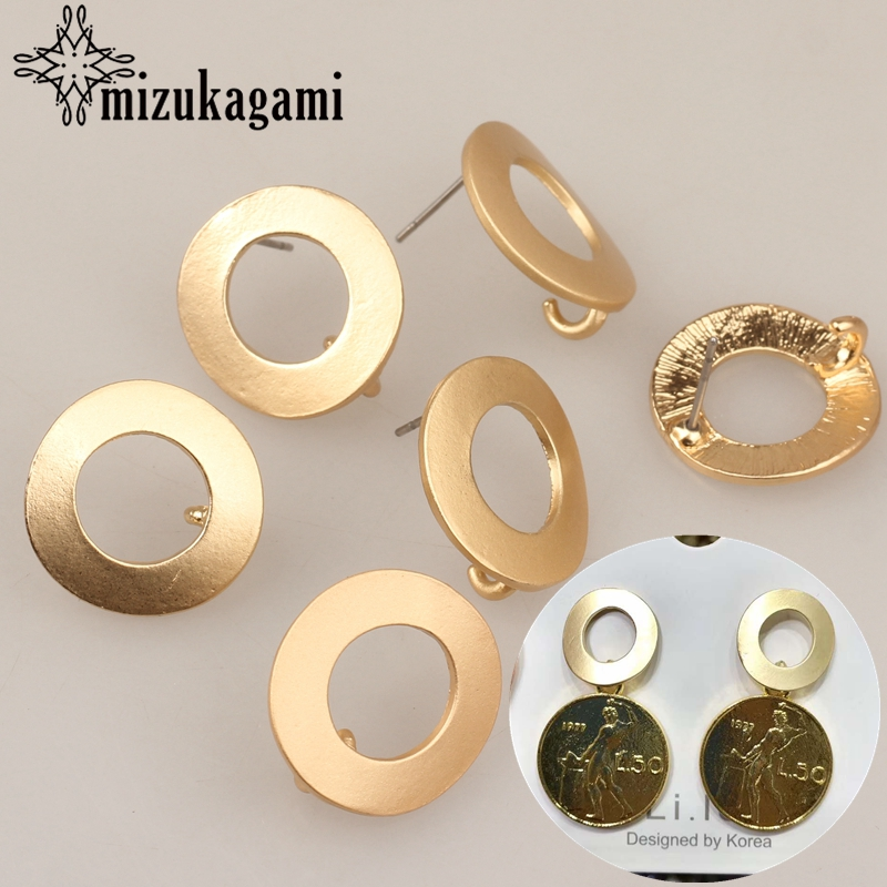 2018 New 18MM 6pcs/lot Zinc Alloy Gold Round Circle Shape Base Earrings Connector For DIY Stud Earrings Accessories