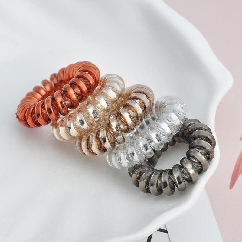 3Pcs Useful  Elastic Hair Bands Girls Hair Accessories Rubber Band Headwear Hair Rope Spiral Shape Hair Ties Gum Telephone Wire