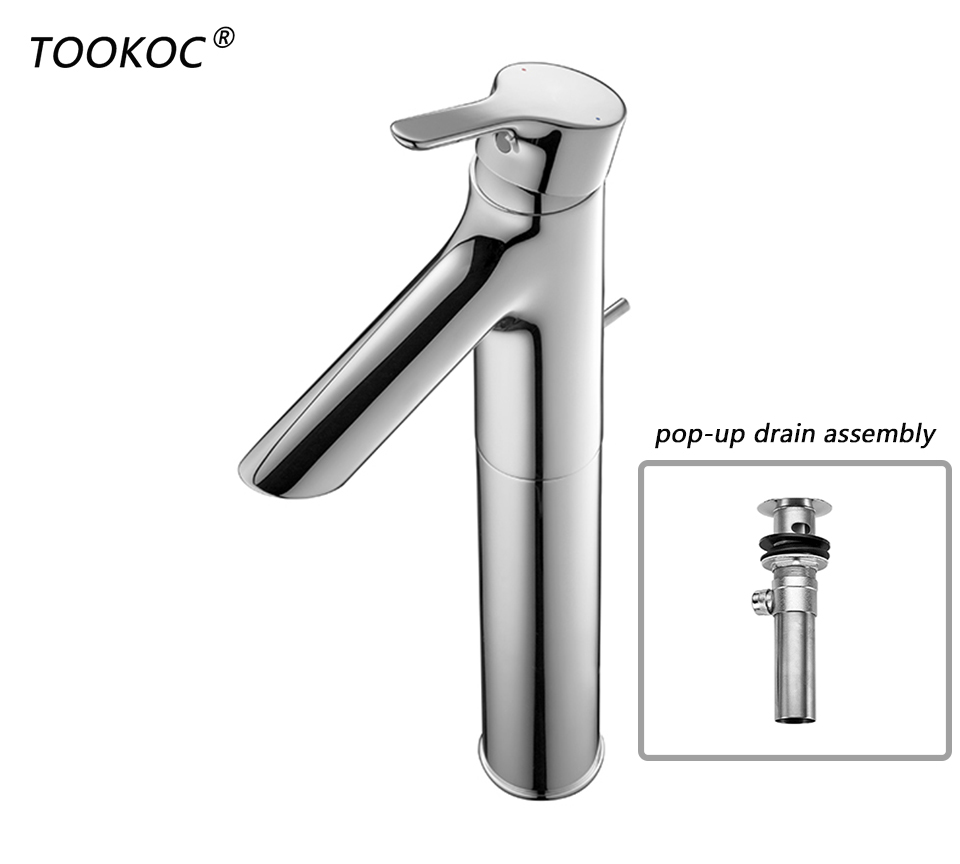 TOOKOC Basin  Faucets Tap Single Handle Single Handle Cold and Hot bathroom brass fixture  Metal pop-up drain assembly includedTOOKOC Basin  Faucets Tap Single Handle Single Handle Cold and Hot bathroom brass fixture  Metal pop-up drain assembly included