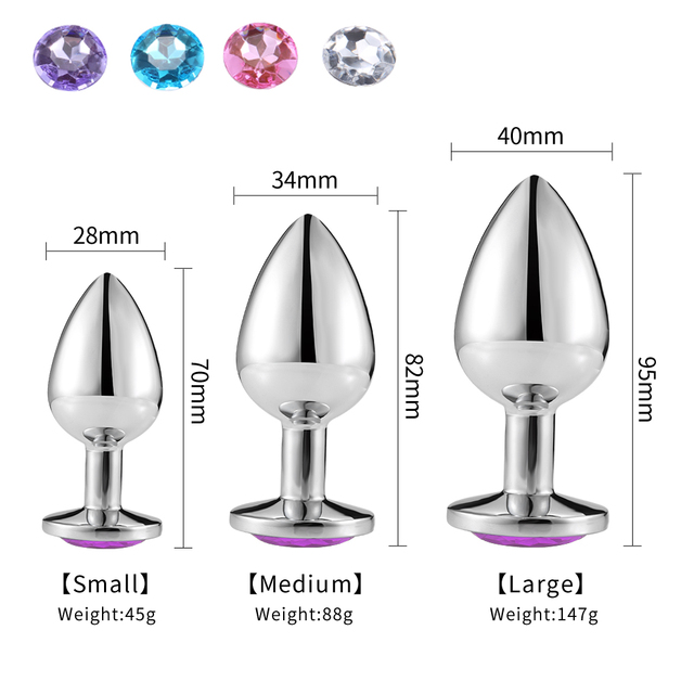 Intimate Metal Anal Plug with Crystal Jewelry Smooth Touch Butt Plug No Vibrator Anal Bead Anus Dilator Anal Toys for Men Women 4