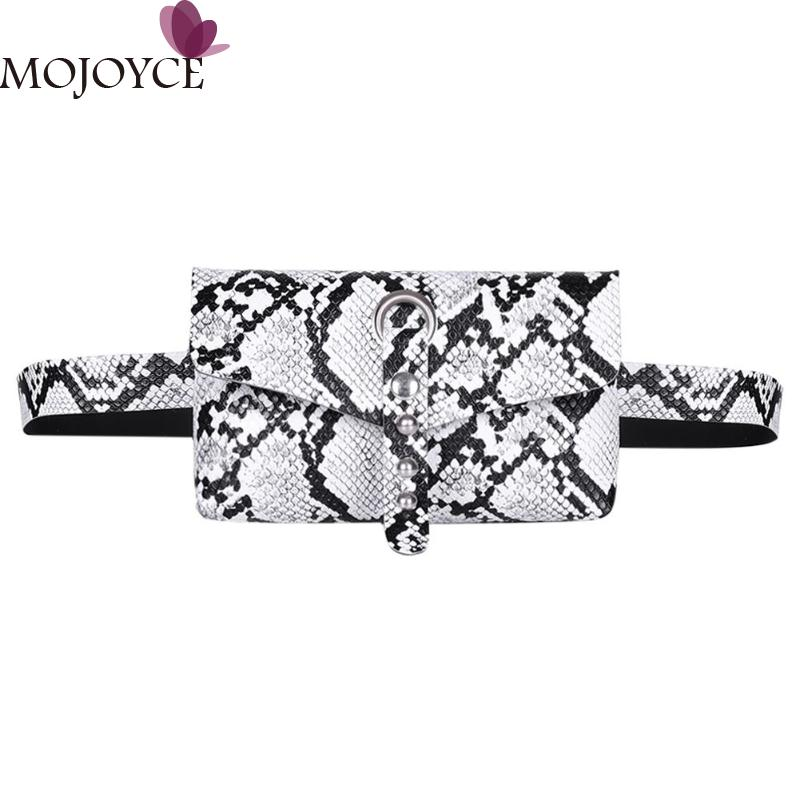Women Fashion Casual Rivet Snake Print Sports Square Shoulder Crossbody Bags Women Waist Fanny Belt Packs PU Leather Chest Bags