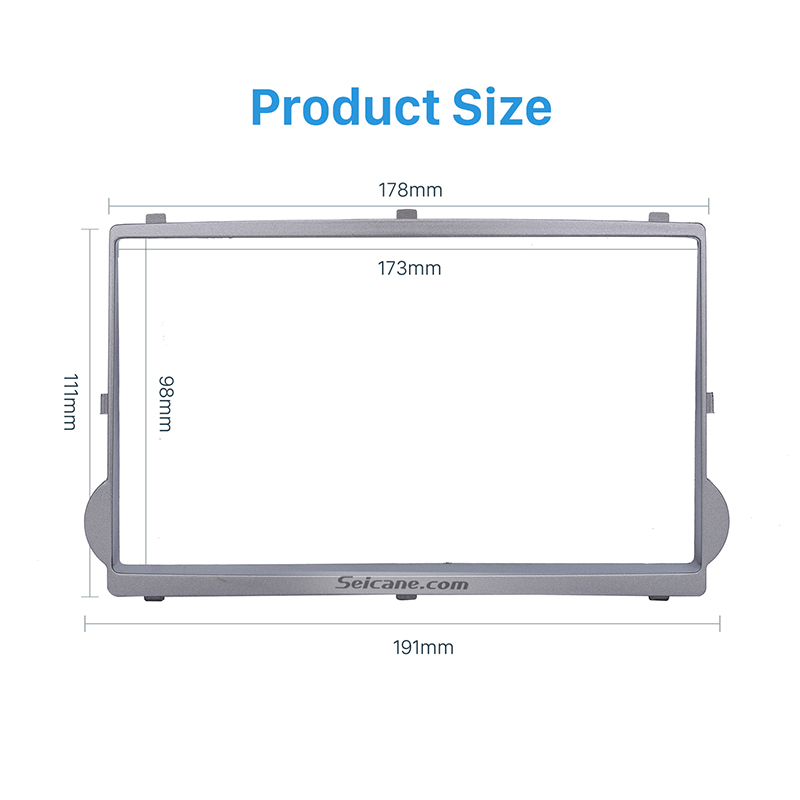 Seicane Silver Double Din Car Radio Fascia DVD Stereo Player Trim for 2010 HYUNDAI STAREX H1 Install Frame Dash Kit