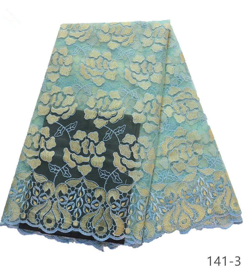 2019 African lace fabric with Stones french lace fabric Aqua green tulle Nigerial laces fabrics for 5 yards piece 141 in Lace from Home Garden