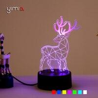 3D USB LED Lamp Night Light Christmas Deer Elk Desk Table Lamp 7 Colors Bedroom Office