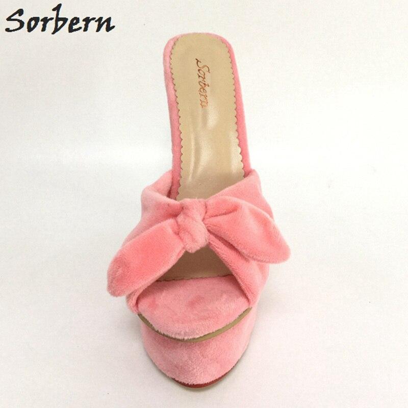 7af47cdcf0 Sorbern Pink Platforms Bow Knot Women Slipper Open Toe Wedge Slides Shoes  Women Plus Size 45 Open Heels Wedge Sandal Slippers-in Slippers from Shoes  on ...