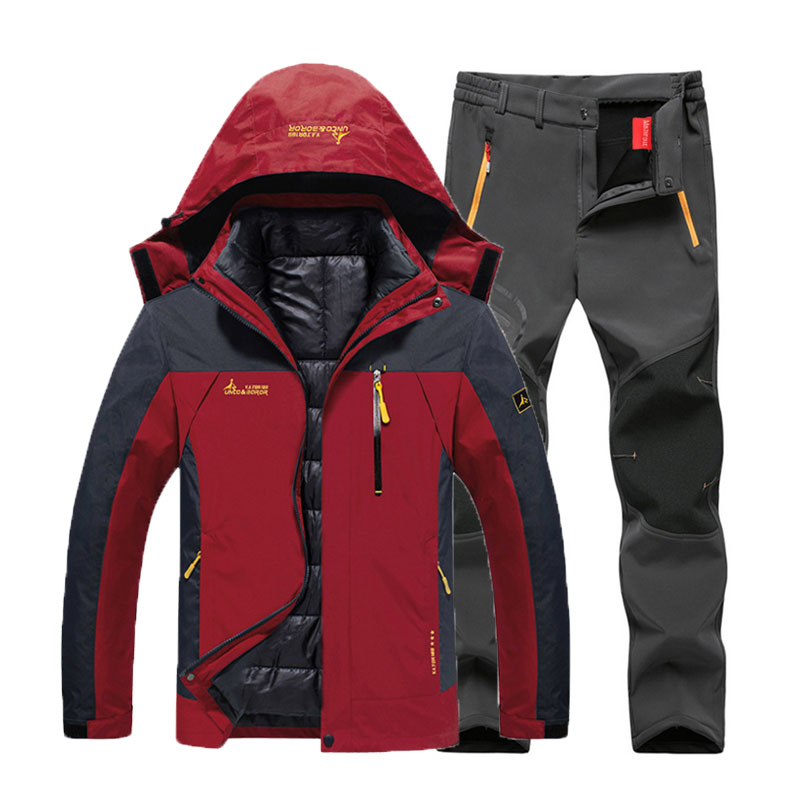 6XL Plus Size Men Winter Trekking Hiking Camping Skiing Climbing 3 In 1 Outdoor Jackets Set Waterproof Fishing Thermal Pant Suit|Hiking Jackets| |  - title=