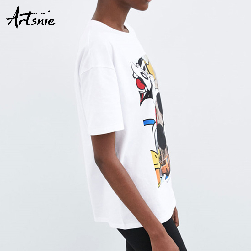 Artsnie streetwear cartoon print women t shirt summer 2019 o neck short sleeve white tops tee casual knitted t-shirts mujer
